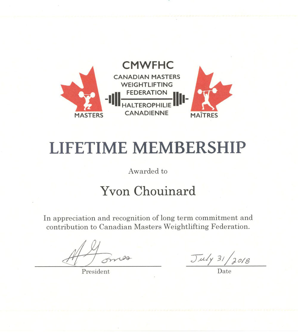 Yvon Chouinard Lifetime Membership with signature